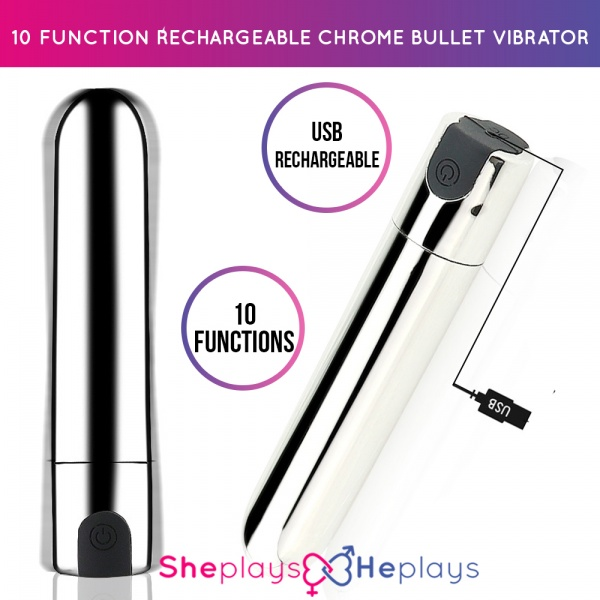 10 Function USB Rechargeable Chrome Bullet Vibrator